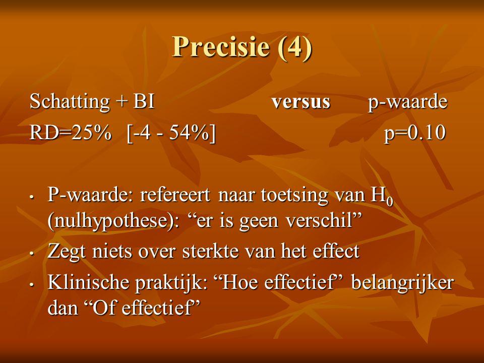 Precisie (4) Schatting + BI versus p-waarde RD=25% [-4 - 54%] p=0.10